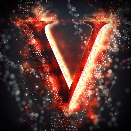 v alphabet: Red light letter V Stock Photo