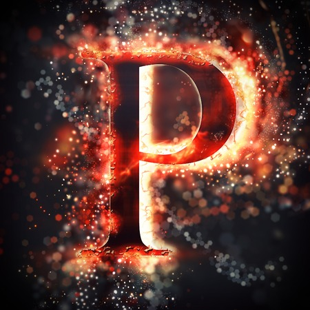 neon letter: Red light letter P Stock Photo