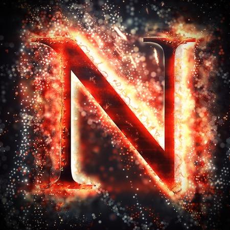 Rotes Licht Buchstaben N