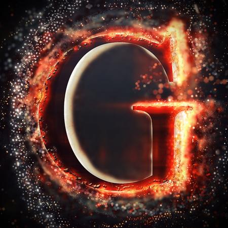 g alphabet: Red light letter G