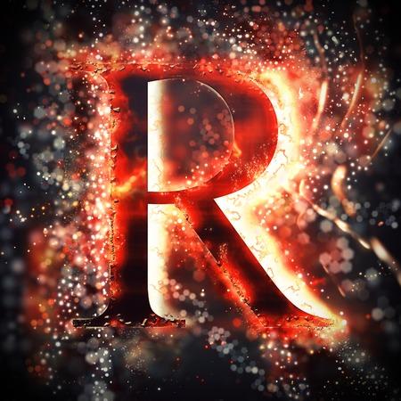 letter alphabet: Red light letter R