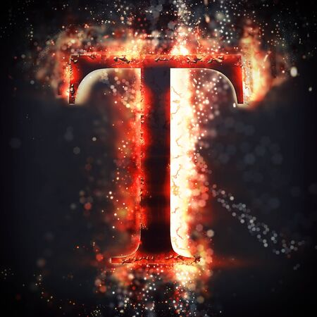 t background: Red light letter T Stock Photo