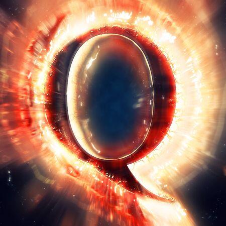 q: Red light letter Q Stock Photo
