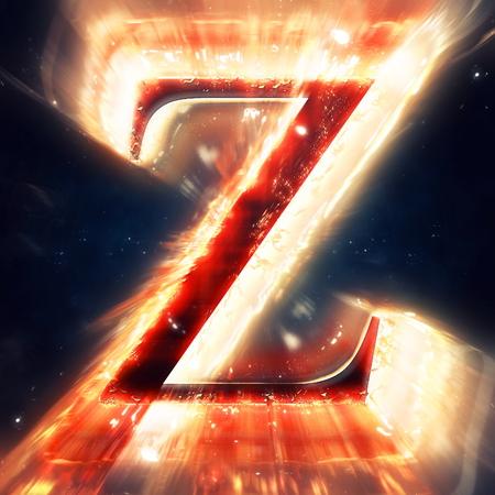 letter z: Red light letter Z
