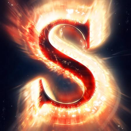 flame alphabet: Red light letter S