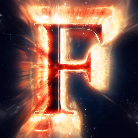 flame alphabet: Red light letter F
