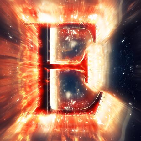 speck: Red light letter E