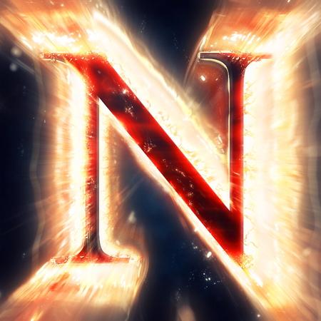 neon letter: Red light letter N