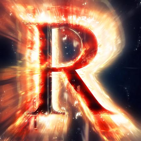 lettre alphabet: Red lettre lumi�re R