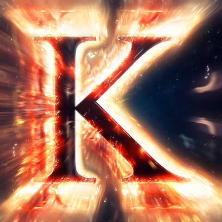 letter k: Red light letter K