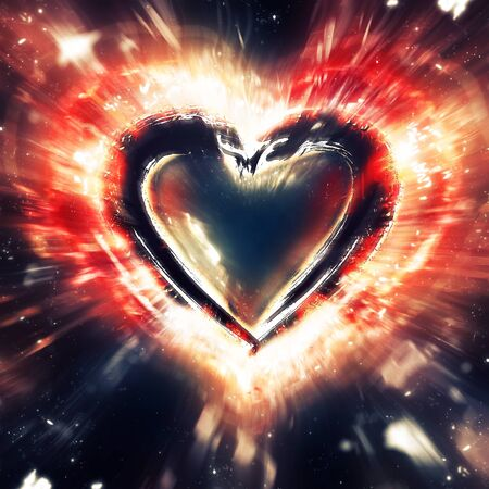 heart background: Exploding heart Stock Photo