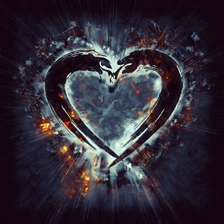 heart in flame: Exploding heart Stock Photo