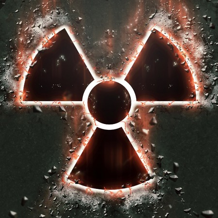 hazard sign: burning radiation hazard sign
