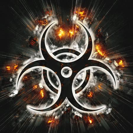 biological: Exploding  biohazard sign