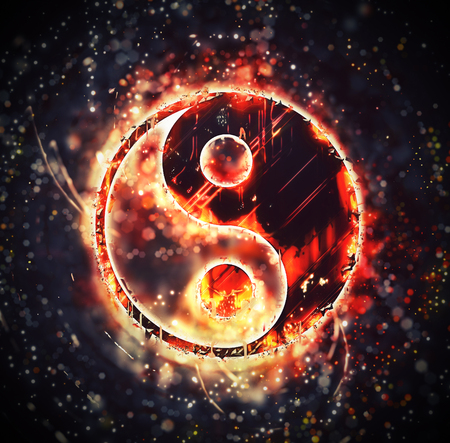 catchlight: Burning yin-yang sign