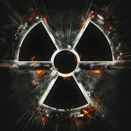 radiation hazard sign: burning radiation hazard sign