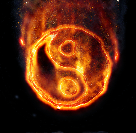 burning: Burning yin-yang sign