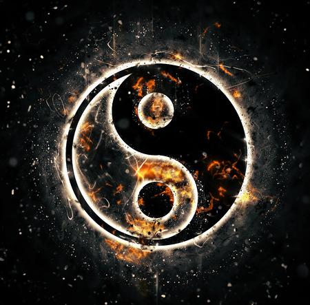 yin y yang: La quema de yin-yang signo Foto de archivo