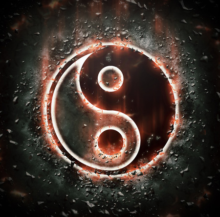 yin: Burning yin-yang sign