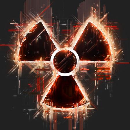 nuclear radiation: Abstract radiation hazard sign Stock Photo