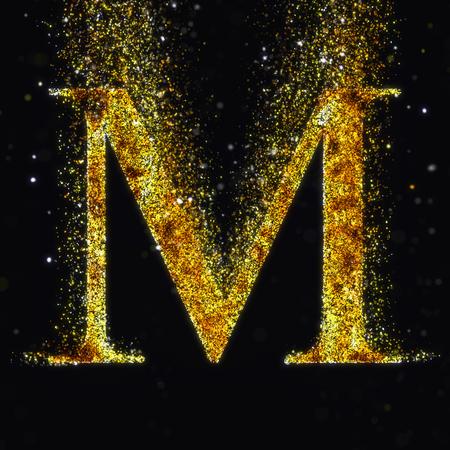letter alphabet: Gold letter M