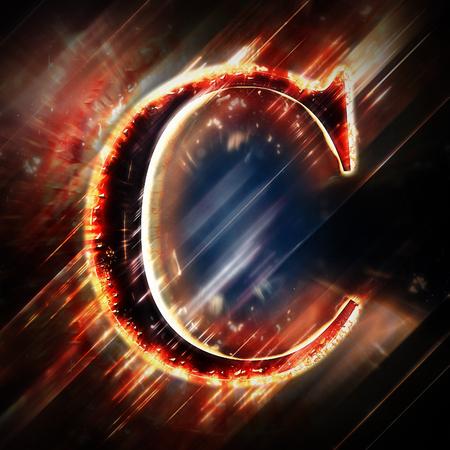 letter c: Red light letter C