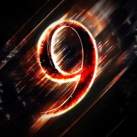 numero nueve: Digit luz roja 9