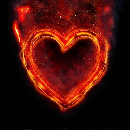 Burning heart ring