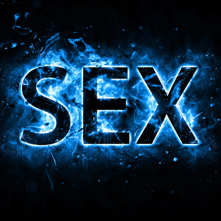 Word sex with blue flame effect