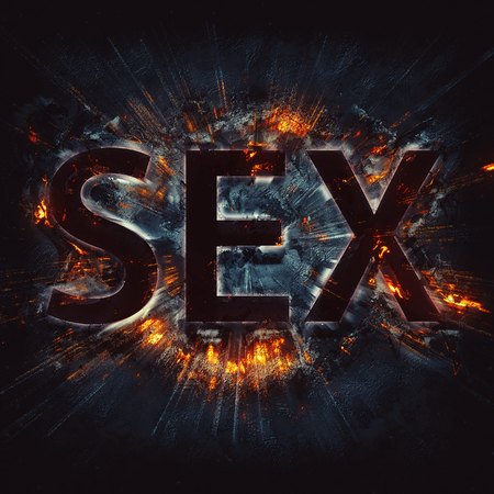 Word sex with red exploding effect