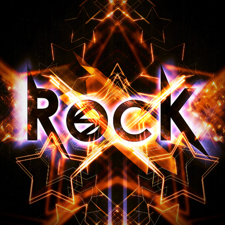 Rock poster with neon elements Stockfoto
