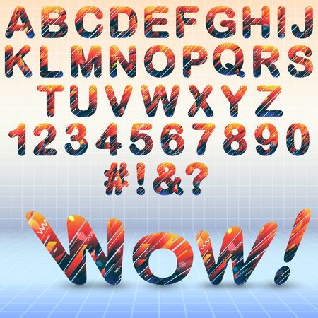 Modern font with abstract elements Stock Illustratie