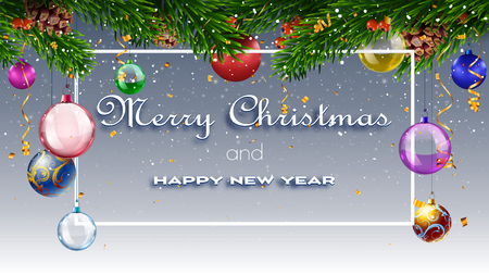 christmas card with fir branches and decorations