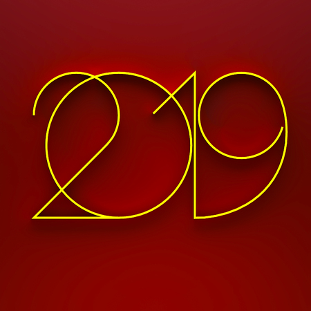 Gold concept 2019 year on red Stockfoto