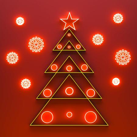 Gold lattice fir tree on red Stockfoto