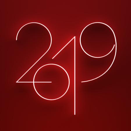 Luminous 2019 year on red