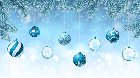 Christmas background with fir branches an decorations Stock Illustratie