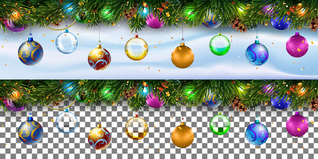 Christmas decoration border with firtree branches an transparency