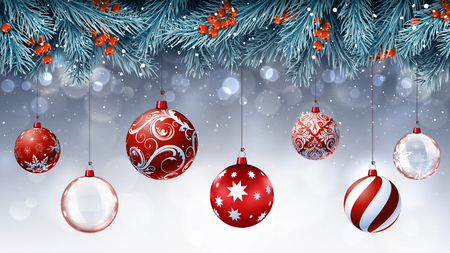 Christmas red decorations with blue fir branches Stock Illustratie