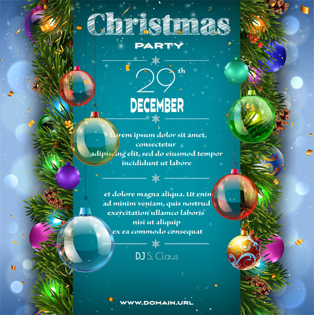 Christmas decoration placard with firtree branches Stock Illustratie