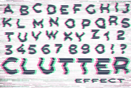 Alphabet with glitch and clutter effect
