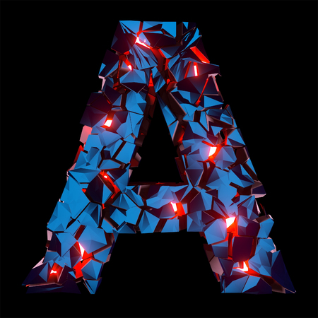 Luminous letter A composed of abstract polygonal shapes