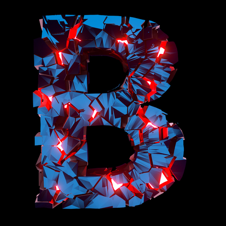 Luminous letter B composed of abstract polygonal shapes