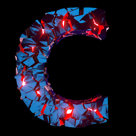 Luminous letter C composed of abstract polygonal shapes