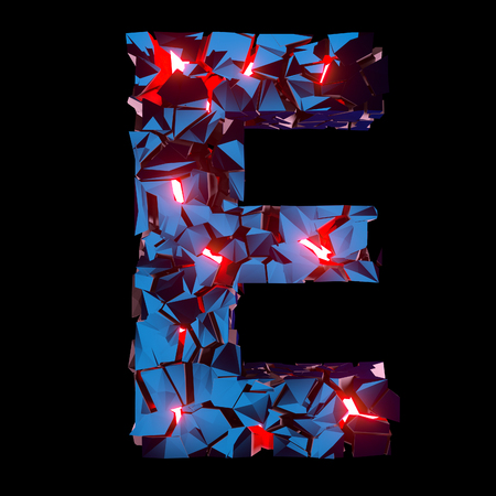 Luminous letter E composed of abstract polygonal shapes