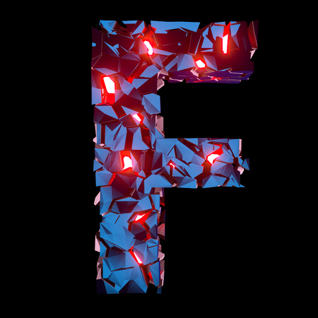 Luminous letter F composed of abstract polygonal shapes