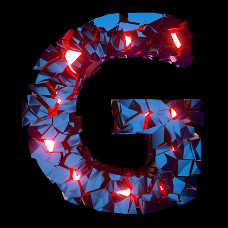 Luminous letter G composed of abstract polygonal shapes