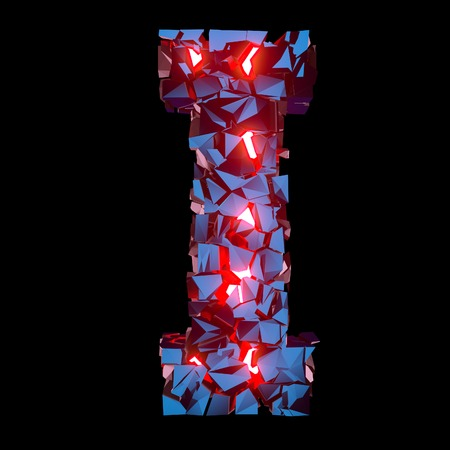 Luminous letter I composed of abstract polygonal shapes