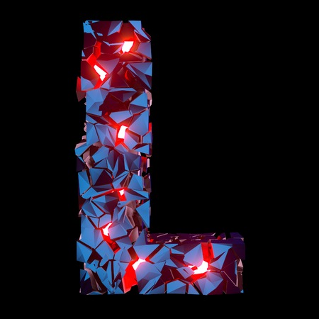 Luminous letter L composed of abstract polygonal shapes