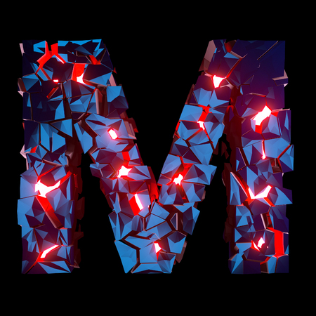 Luminous letter M composed of abstract polygonal shapes